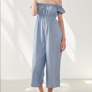UO Kimchi Off the Shoulder Puff-Sleeve Jumpsuit